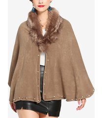 cappotti da donna casual in tinta unita con collo in pelliccia