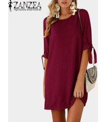 zanzea chiffon vintage mini vestido plegable de manga larga con cordones o cuello recto simple kaftan mujeres otoño casual vestido de moda -vino rojo
