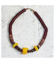 wood and recycled plastic beaded necklace, 'can't lose you' (ghana)