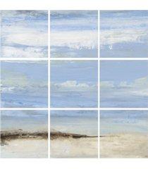 "stupell industries abstract beach seascape 9 piece canvas wall art set, 12"" x 12"""