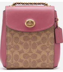 coach women's coated canvas signature parker backpack 16 - tan dusty pink