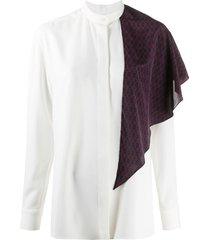 rokh chain-link print sash shirt - white