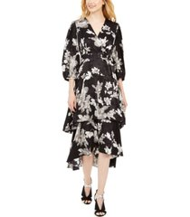 calvin klein belted printed midi tiered dress