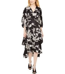 calvin klein belted printed tiered dress