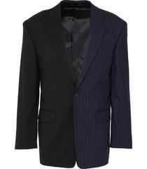 pinstripe panel colourblock wool-blend blazer