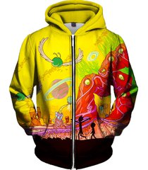 rick and morty zip up hoodie - psychedelic adult swim cartoon clothing