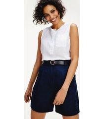 tommy hilfiger women's relaxed fit sleeveless linen shirt white - 0