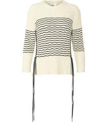striped side tie knit top