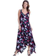 vestido 101 resort wear longo saia em pontas viscose estampado preto - branco/preto/vermelho - feminino - viscose - dafiti