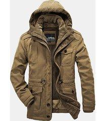 uomo casual giacca a 2 pezzi pesante calda foderata di lana di agnello da outdoor a taglia forte