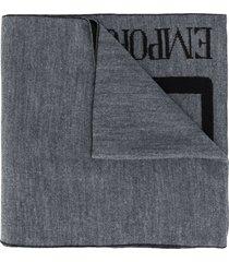 ea7 emporio armani lightweight knit logo scarf - grey