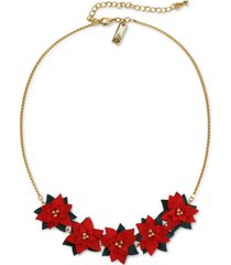 """inc gold-tone fabric poinsettia statement necklace, 18"""" + 3"""" extender, created for macy's"""