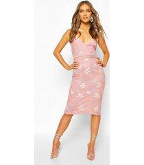 boohoo occasion sequin floral midi dress, blush