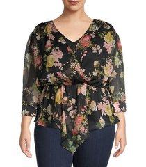 vince camuto women's plus floral-print asymmetrical top - rich black - size 2x (18-20)