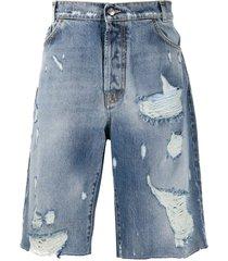 buscemi distressed denim shorts - blue
