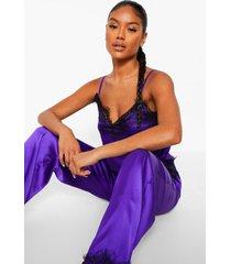 hemdje met kanten zoom en broek set, purple
