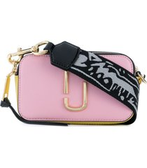 marc jacobs bolsa transversal 'snapshot' de couro - rosa