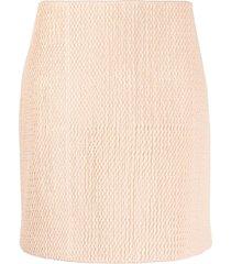 bottega veneta textured leather a-line skirt - pink