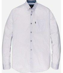 lichtblauwe heren blouse long sleeve print on poplin - 5028