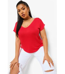 plus basic t-shirt met v-hals, red