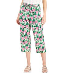 charter club cropped floral-print pants, created for macy's