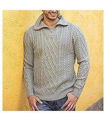 men's 100% alpaca pullover, 'laurel knit' (peru)