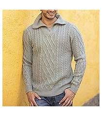 men's 100% alpaca pullover, 'laurel knit' (peru)