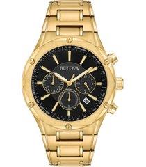 bulova men's chronograph gold-tone stainless steel bracelet watch 43mm