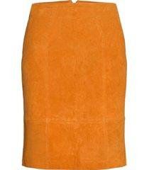 vifaith hw suede slit skirt kort kjol brun vila