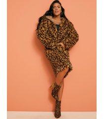 długa kurtka ze sztucznym futrem w zwierzęcy print