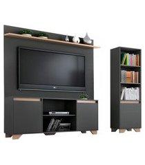conjunto de rack com painel para tv até 50 polegadas e estante friso ii grafite e siena