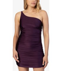 speechless juniors' ruched one-shoulder dress