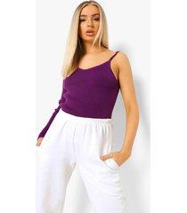 geribbelde gebreide trui met eén blote schouder, purple