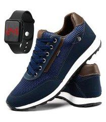 tênis jogger masculino sapatênis conforto com relógio digital