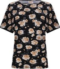camiseta estampada flores color negro, talla xs