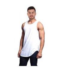 camiseta regata longa básica longline lisa