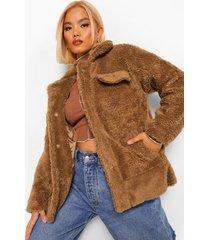 petite lange trucker teddy jas, camel