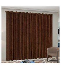 cortina 2,60m x 1,60m cetim amassadinho - tabaco