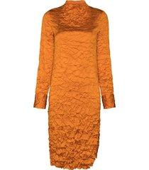 xu zhi wrinkle crinkle-effect midi dress - orange