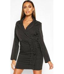 blazer jurk met krijtstrepen en ruches, zwart