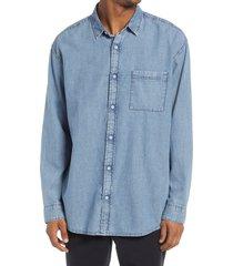 bp. denim button-up shirt, size small in indigo denim - bp medium wash at nordstrom