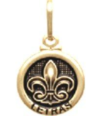 pingente prata mil redondo procissão letras ouro - kanui