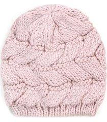 czapka lsniace warkocze rozowa
