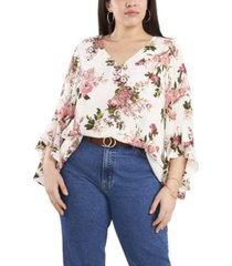 plus size flutter sleeve beautiful blooms v-neck tunic top