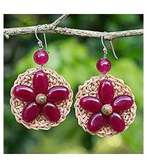beaded flower earrings, 'blossoming stargazer' (thailand)