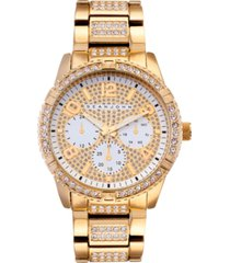sean john men's dress sport 3 hands gold-tone base metal bracelet watch 46mm
