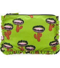 la doublej cactus print ruffled clutch bag - green