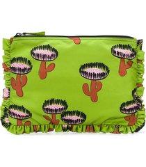 la doublej cactus print ruffled clutch bag - green