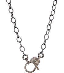 women's jane basch pave diamond clasp long chain necklace