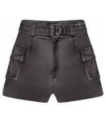 lez a lez - shorts cintura alta em couro preto reativo